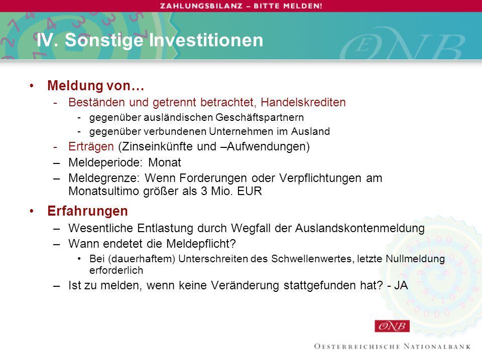 IV. Sonstige Investitionen