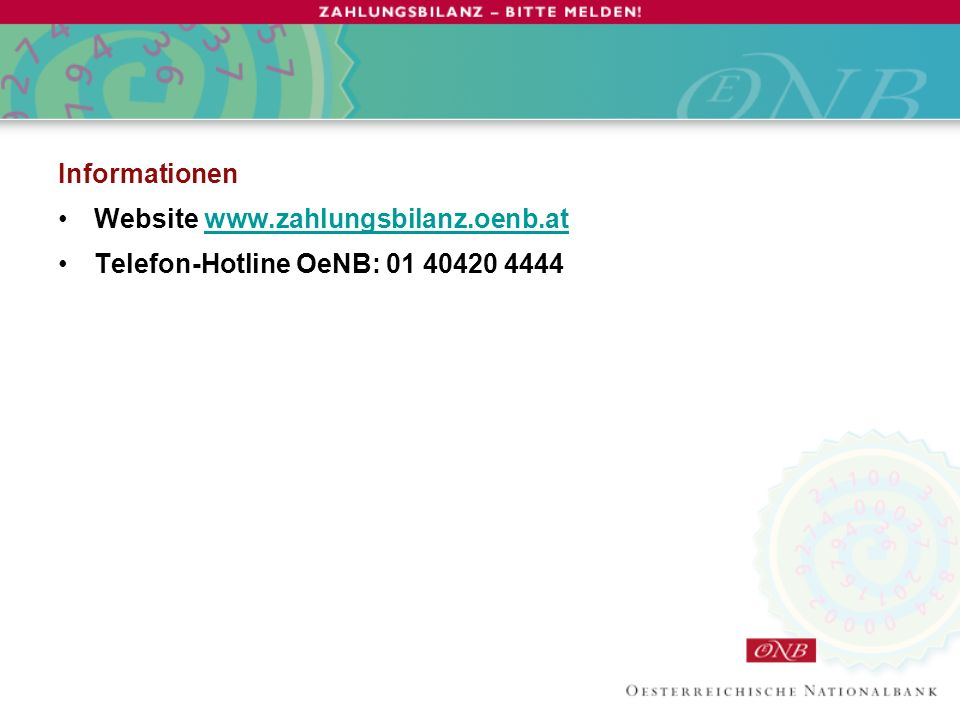 Informationen Website   Telefon-Hotline OeNB: