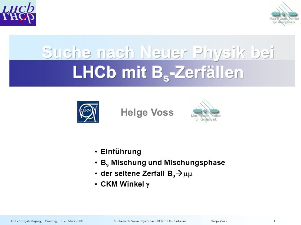 Suche nach Neuer Physik bei LHCb mit Bs-Zerfällen