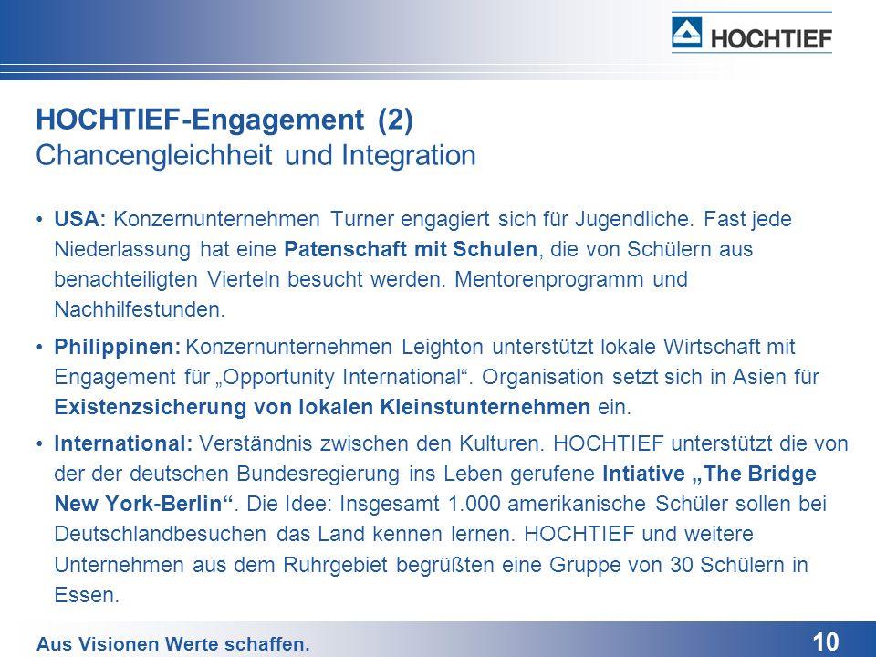 HOCHTIEF-Engagement (2) Chancengleichheit und Integration