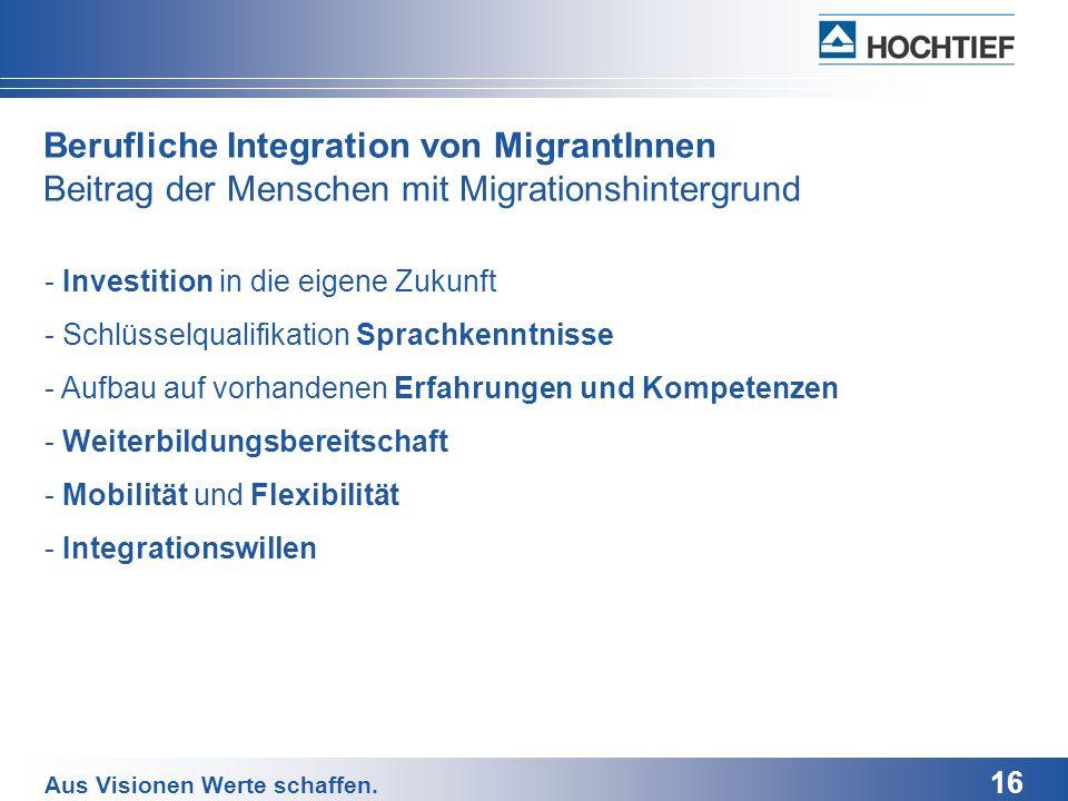 Berufliche Integration von MigrantInnen Beitrag der Menschen mit Migrationshintergrund