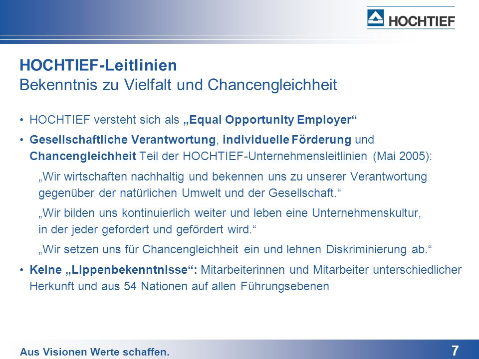 HOCHTIEF-Leitlinien Bekenntnis zu Vielfalt und Chancengleichheit