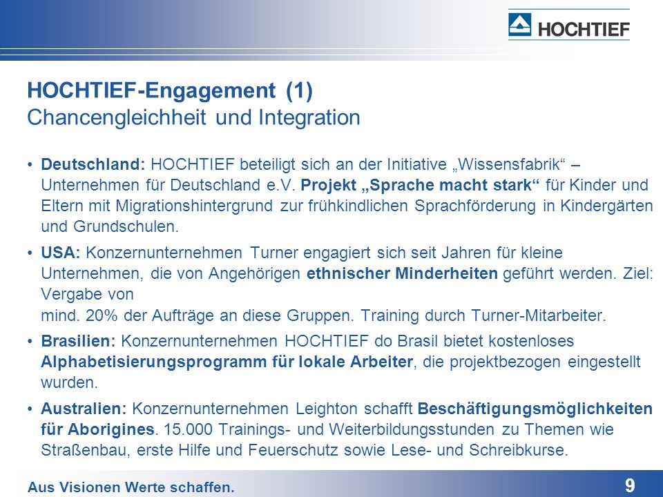 HOCHTIEF-Engagement (1) Chancengleichheit und Integration