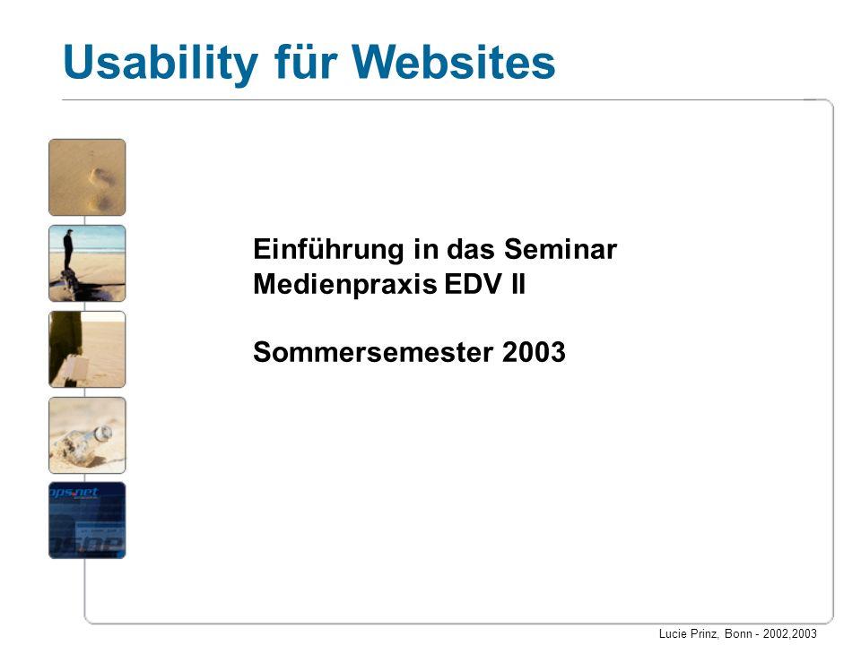 Einführung in das Seminar Medienpraxis EDV II Sommersemester 2003