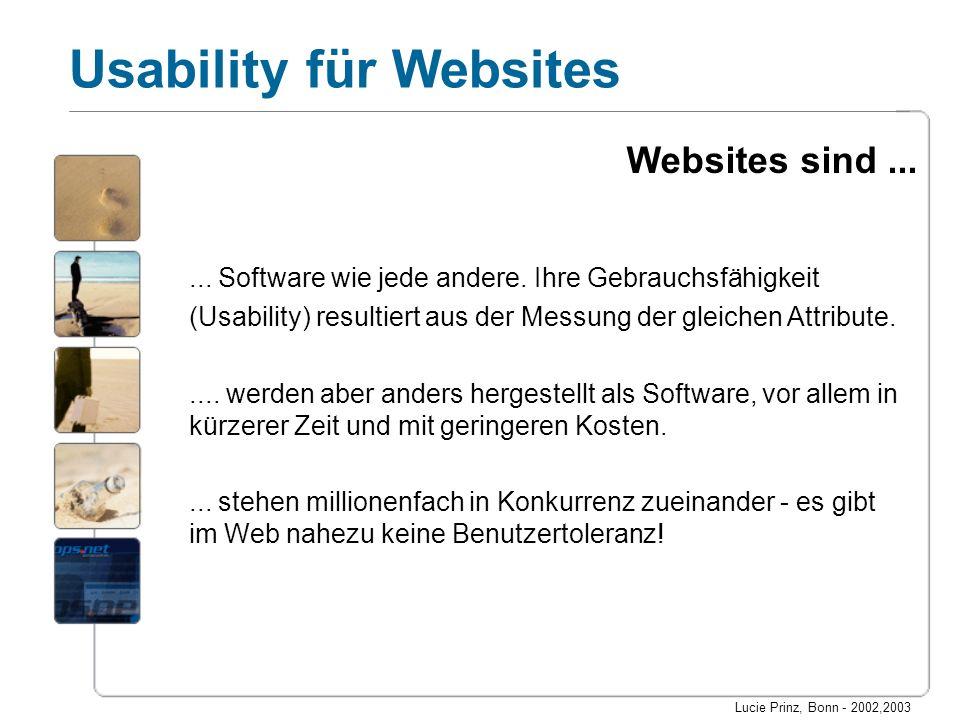 Websites sind ... ... Software wie jede andere. Ihre Gebrauchsfähigkeit. (Usability) resultiert aus der Messung der gleichen Attribute.