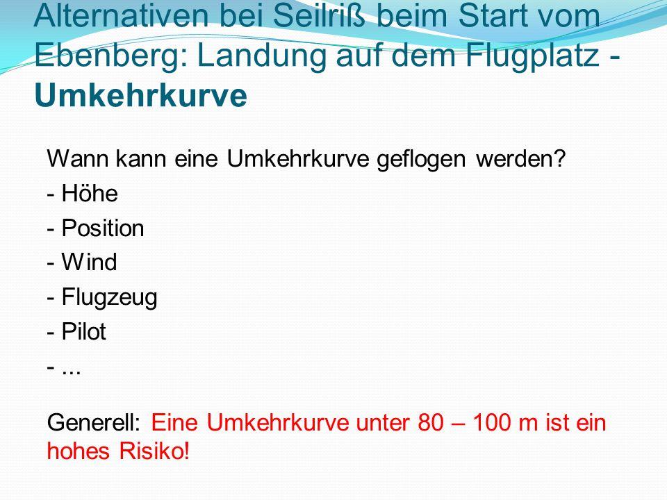 Alternativen bei Seilriß beim Start vom Ebenberg: Landung auf dem Flugplatz - Umkehrkurve