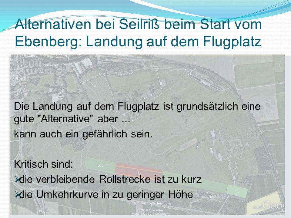 Alternativen bei Seilriß beim Start vom Ebenberg: Landung auf dem Flugplatz