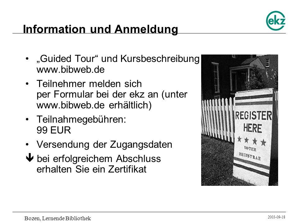 Information und Anmeldung