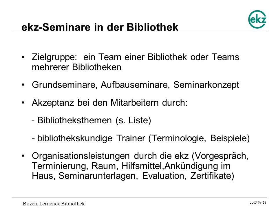 ekz-Seminare in der Bibliothek