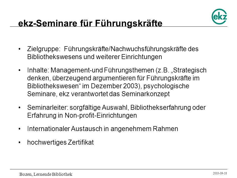 ekz-Seminare für Führungskräfte