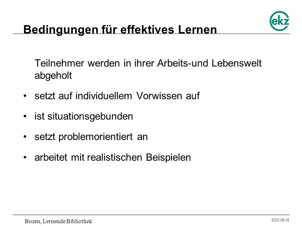 Bedingungen für effektives Lernen