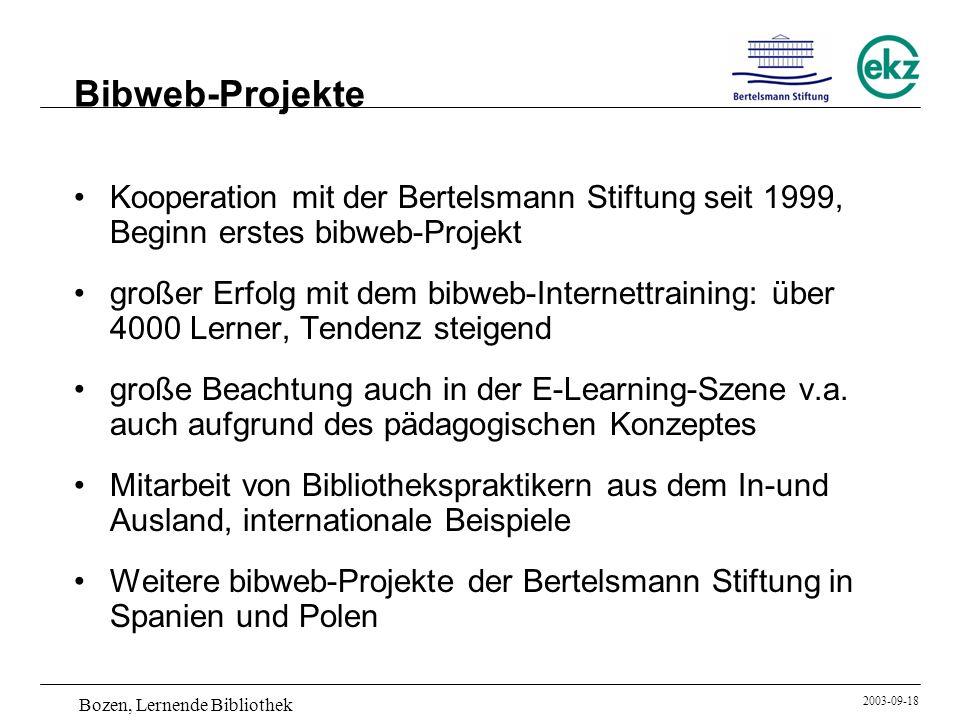 Bibweb-Projekte Kooperation mit der Bertelsmann Stiftung seit 1999, Beginn erstes bibweb-Projekt.