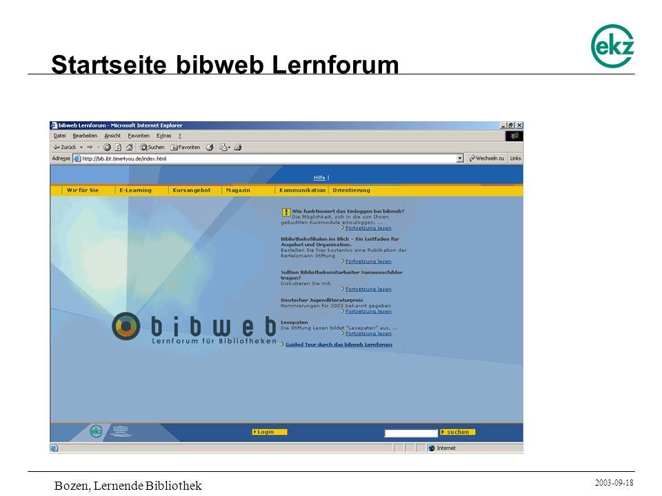 Startseite bibweb Lernforum