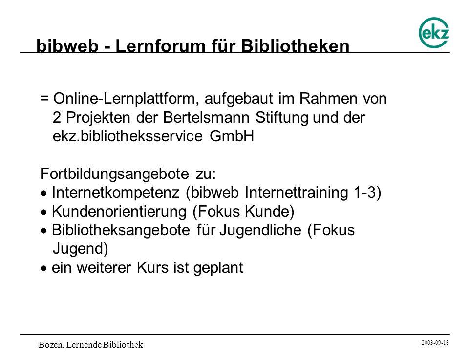 bibweb - Lernforum für Bibliotheken
