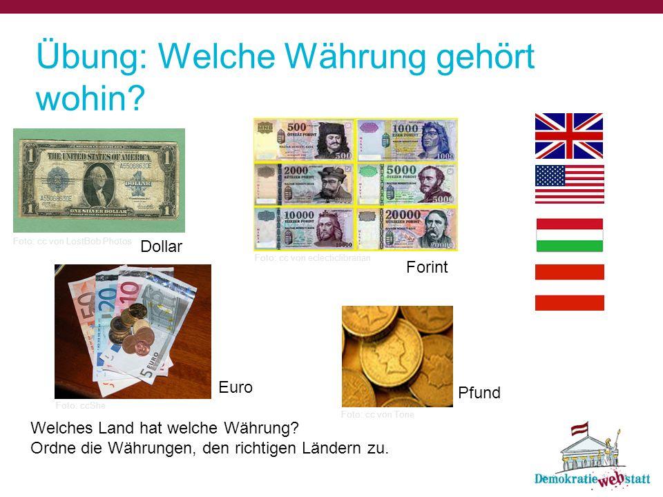 Übung: Welche Währung gehört wohin
