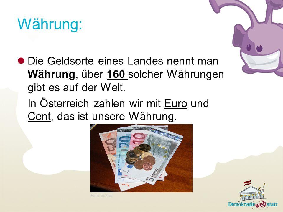 Währung:Die Geldsorte eines Landes nennt man Währung, über 160 solcher Währungen gibt es auf der Welt.