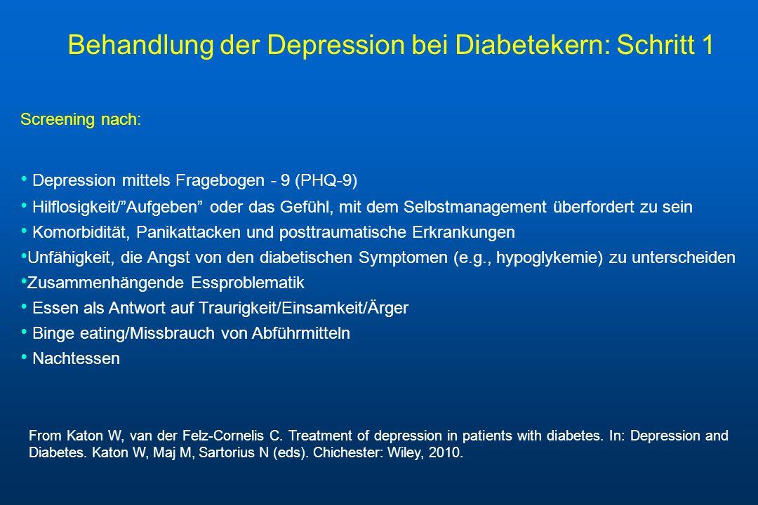 Behandlung der Depression bei Diabetekern: Schritt 1