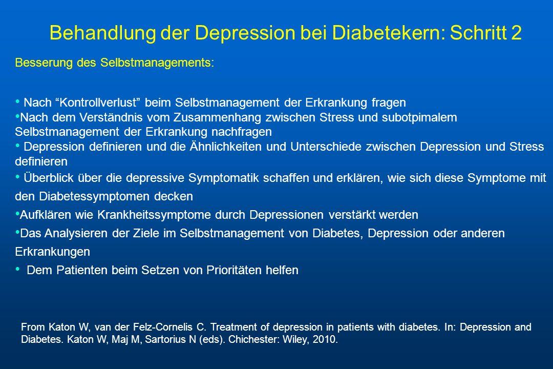 Behandlung der Depression bei Diabetekern: Schritt 2