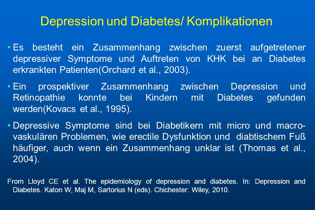 Depression und Diabetes/ Komplikationen