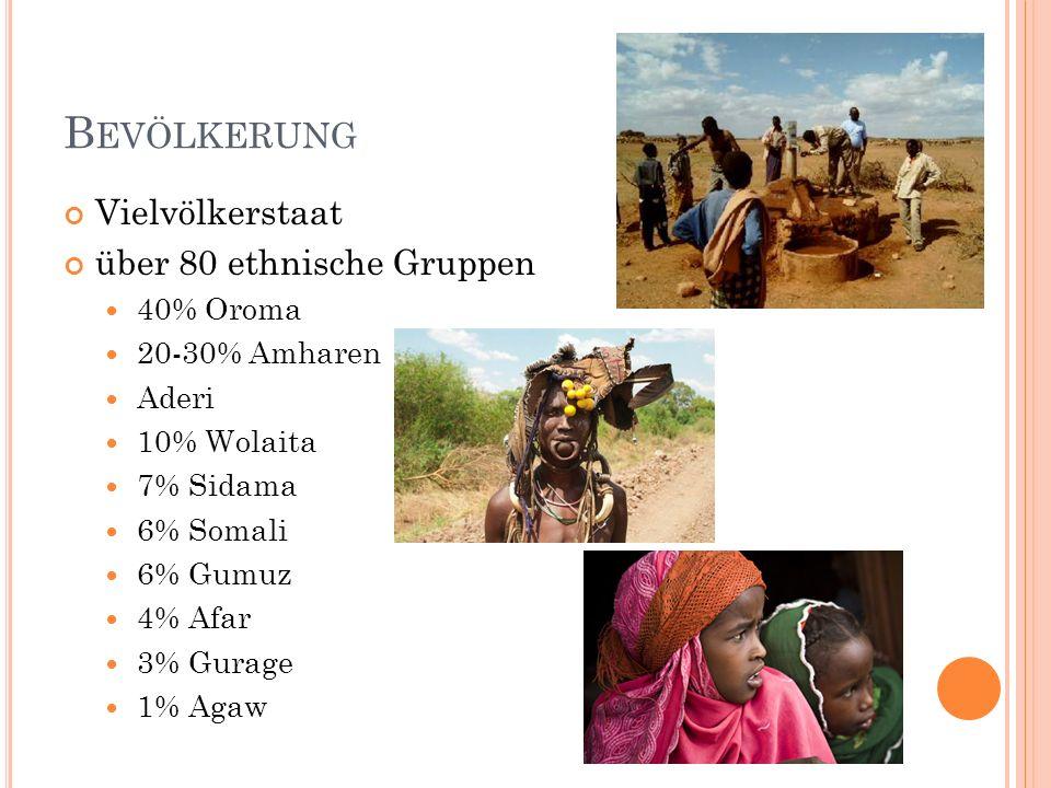 Bevölkerung Vielvölkerstaat über 80 ethnische Gruppen 40% Oroma