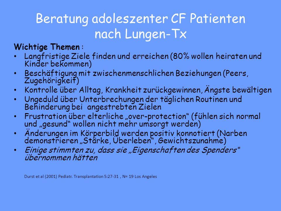 Beratung adoleszenter CF Patienten nach Lungen-Tx