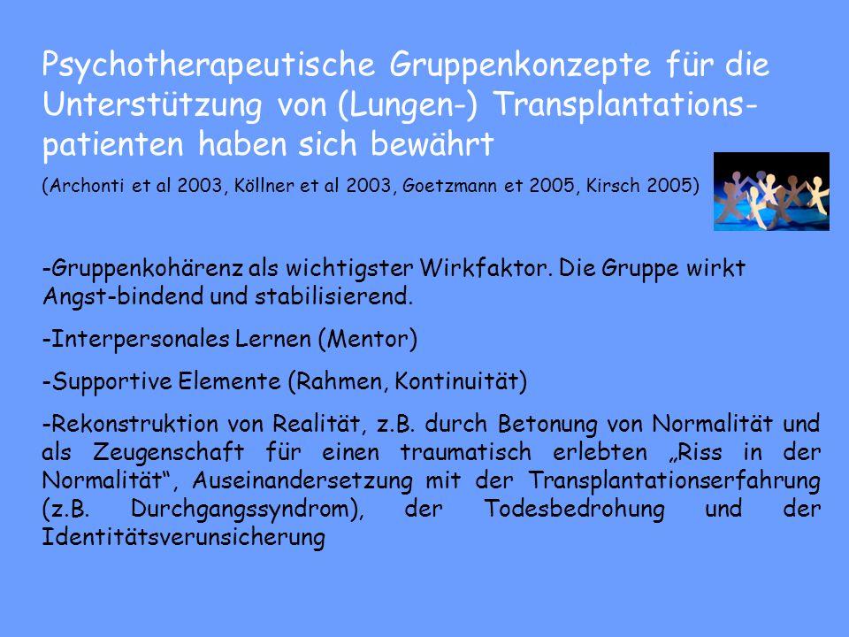 Psychotherapeutische Gruppenkonzepte für die Unterstützung von (Lungen-) Transplantations-patienten haben sich bewährt