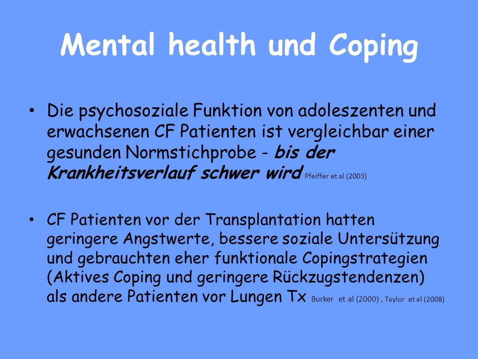 Mental health und Coping