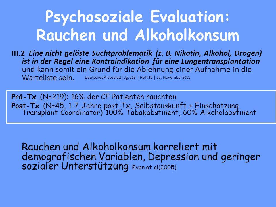 Psychosoziale Evaluation: Rauchen und Alkoholkonsum