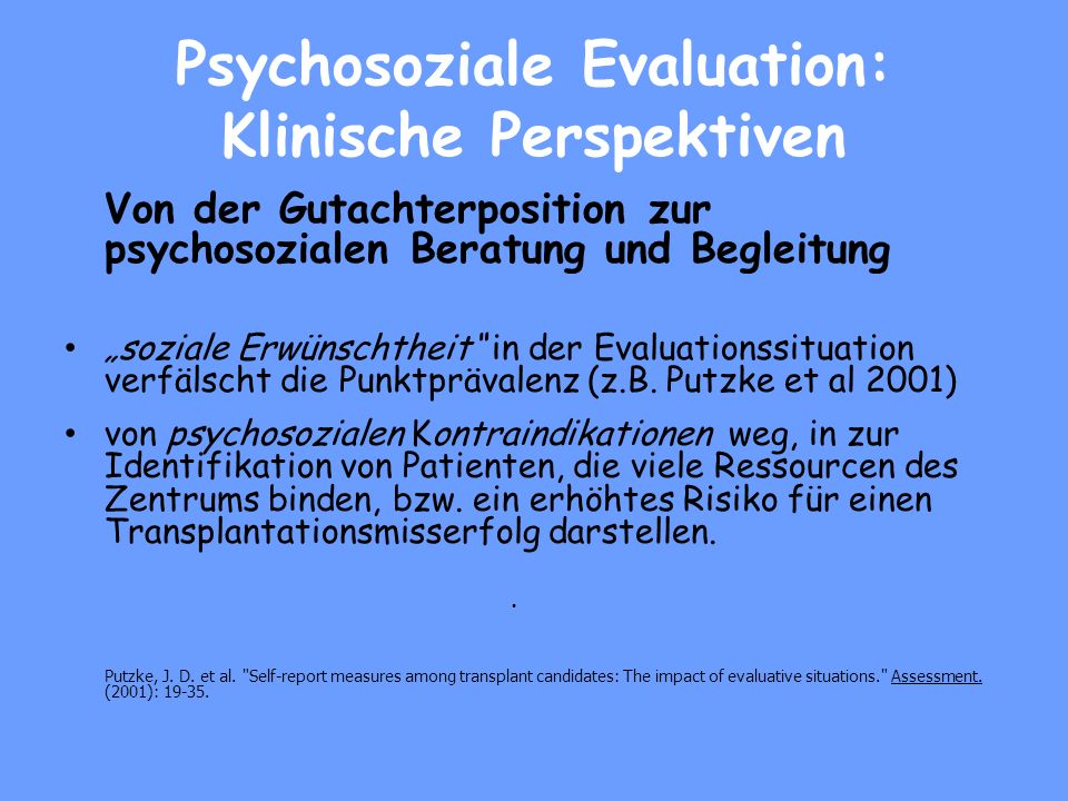 Psychosoziale Evaluation: Klinische Perspektiven