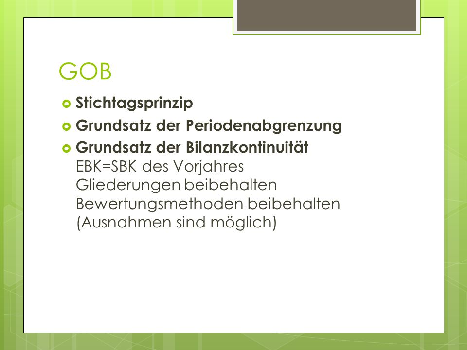GOB Stichtagsprinzip Grundsatz der Periodenabgrenzung