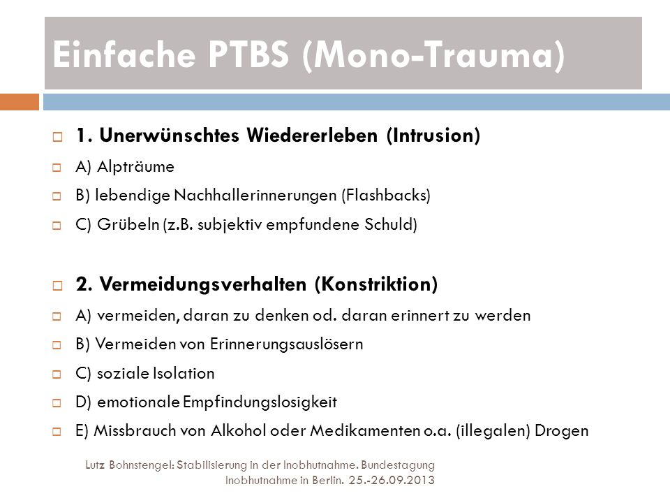 Einfache PTBS (Mono-Trauma)