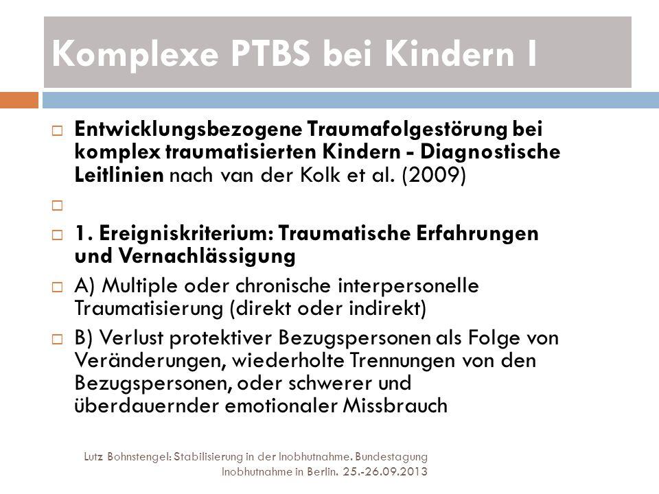 Komplexe PTBS bei Kindern I