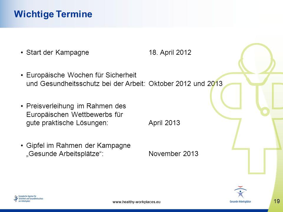 Wichtige Termine Start der Kampagne 18. April 2012