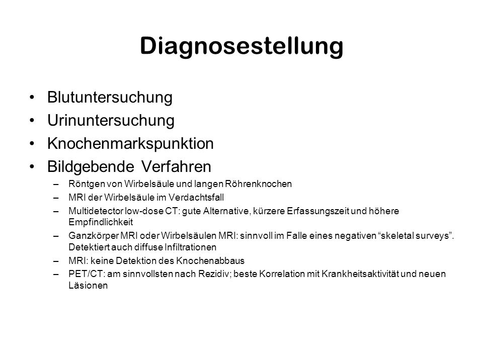 Diagnosestellung Blutuntersuchung Urinuntersuchung
