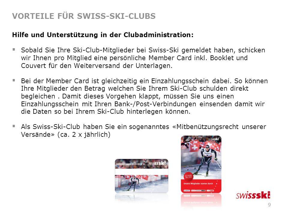 VORTEILE FÜR SWISS-SKI-CLUBS
