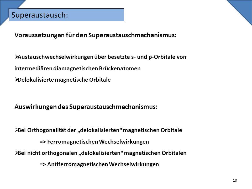 Superaustausch: Voraussetzungen für den Superaustauschmechanismus: