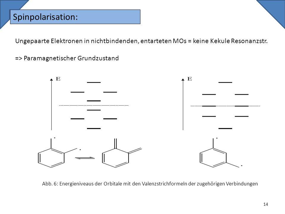 Spinpolarisation: Ungepaarte Elektronen in nichtbindenden, entarteten MOs = keine Kekule Resonanzstr.