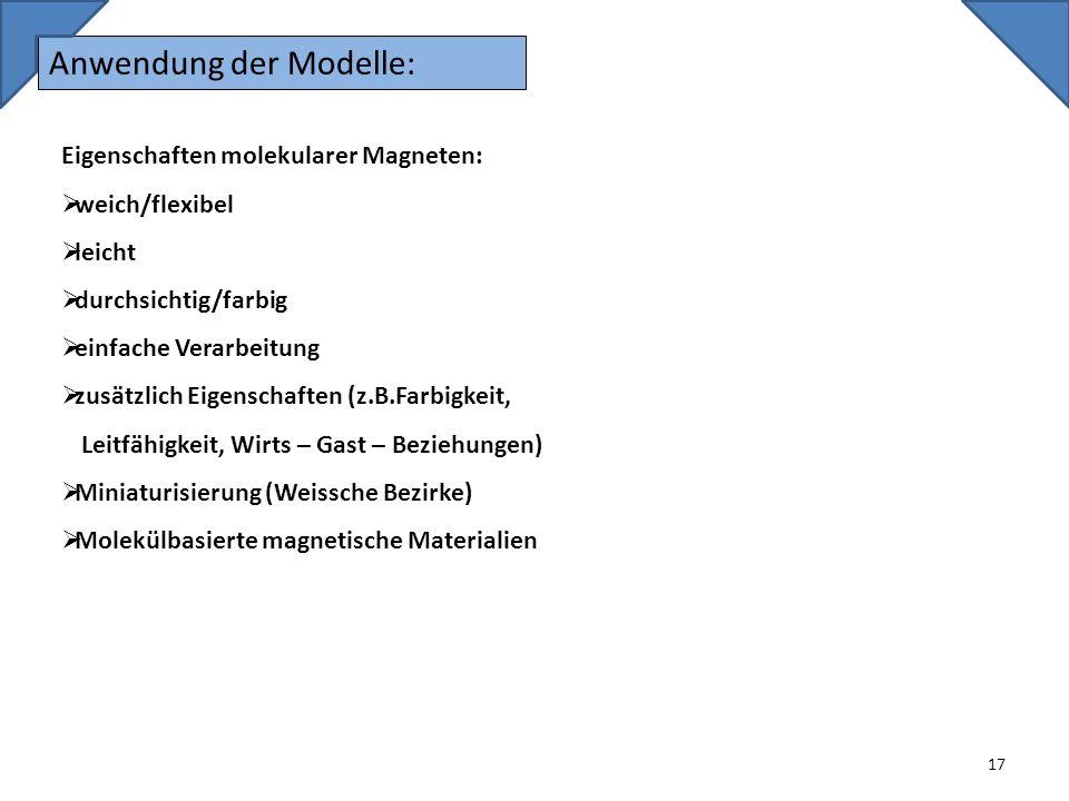 Anwendung der Modelle: