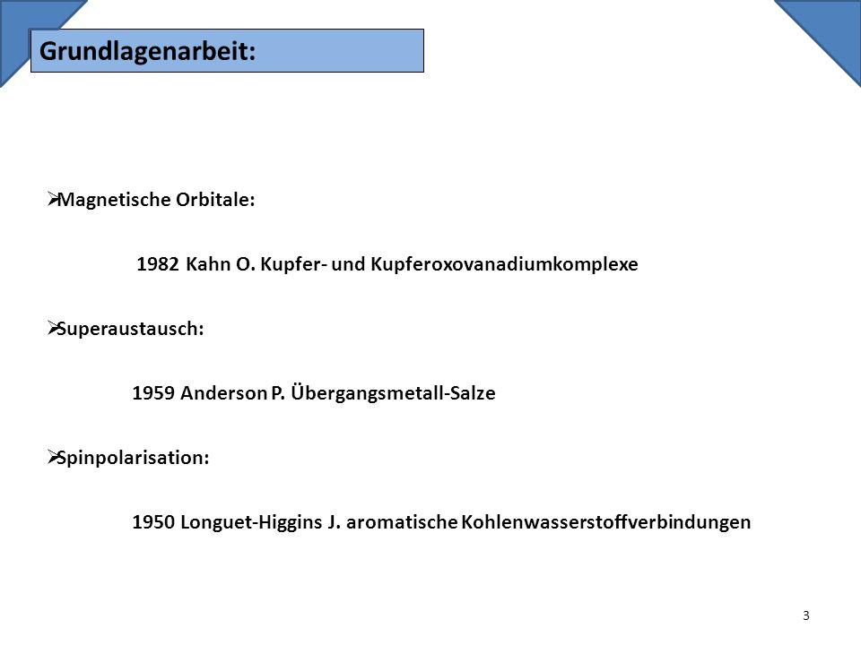Grundlagenarbeit: Magnetische Orbitale: 1982 Kahn O. Kupfer- und Kupferoxovanadiumkomplexe.