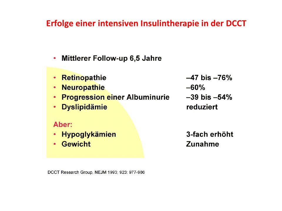 Erfolge einer intensiven Insulintherapie in der DCCT