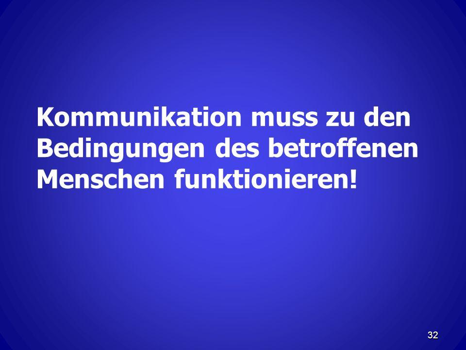 Kommunikation muss zu den Bedingungen des betroffenen Menschen funktionieren!
