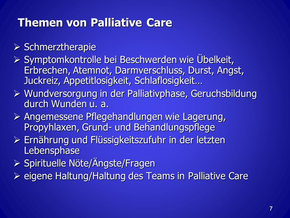 Themen von Palliative Care