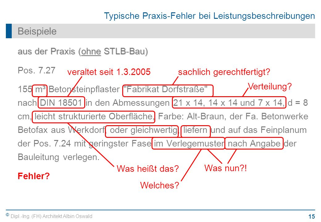 Beispiele aus der Praxis (ohne STLB-Bau) Pos. 7.27