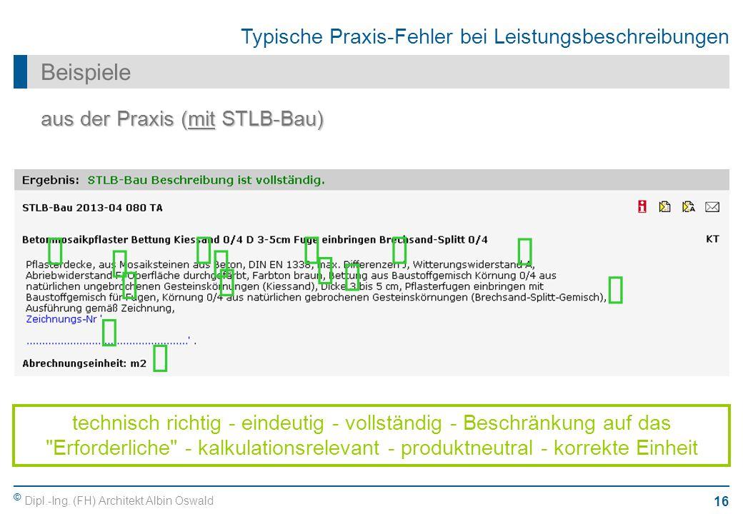 ü ü ü ü ü ü ü ü ü ü ü ü ü ü Beispiele aus der Praxis (mit STLB-Bau)