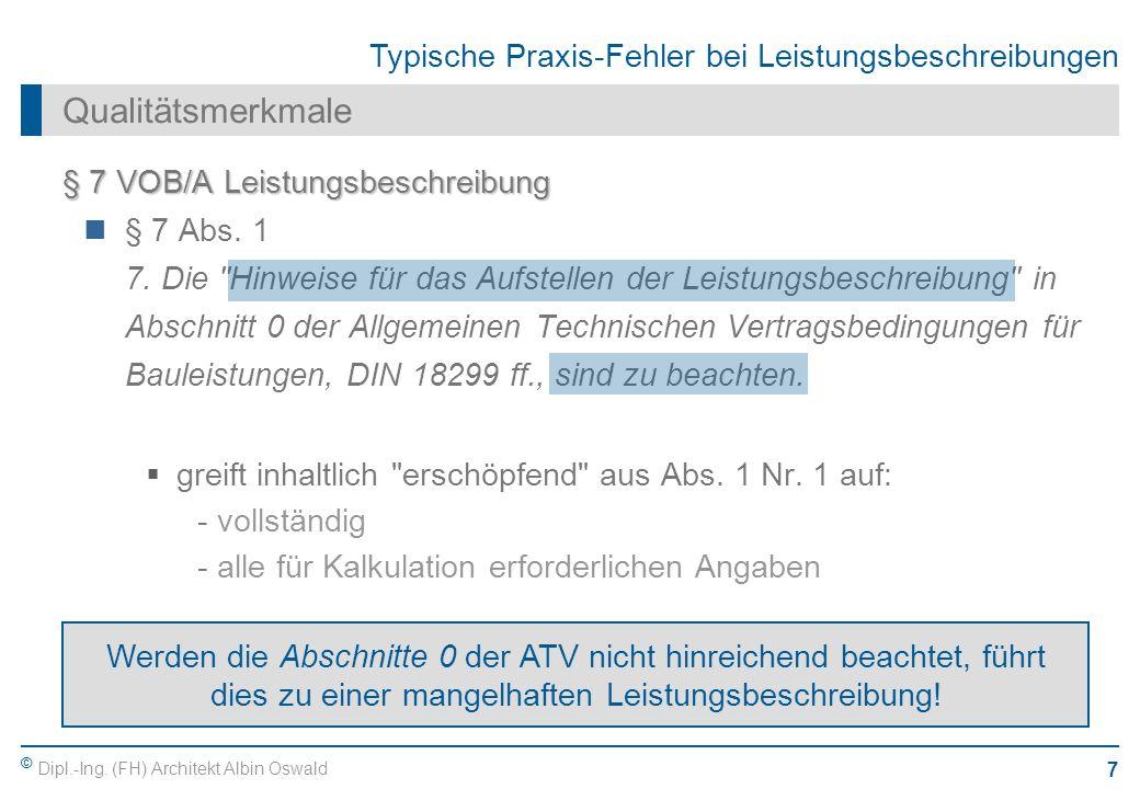 Qualitätsmerkmale § 7 VOB/A Leistungsbeschreibung § 7 Abs. 1
