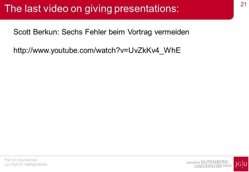The last video on giving presentations: