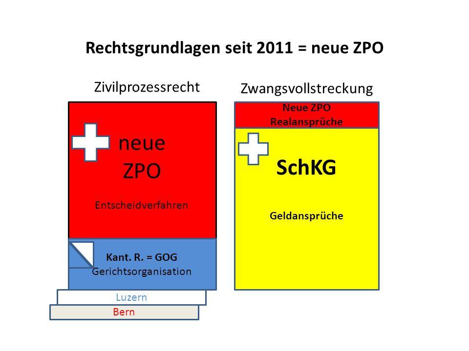 Rechtsgrundlagen seit 2011 = neue ZPO