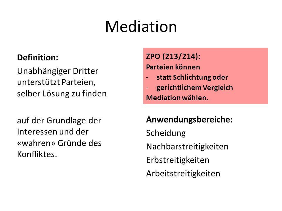 Mediation ZPO (213/214): Parteien können. statt Schlichtung oder. gerichtlichem Vergleich. Mediation wählen.