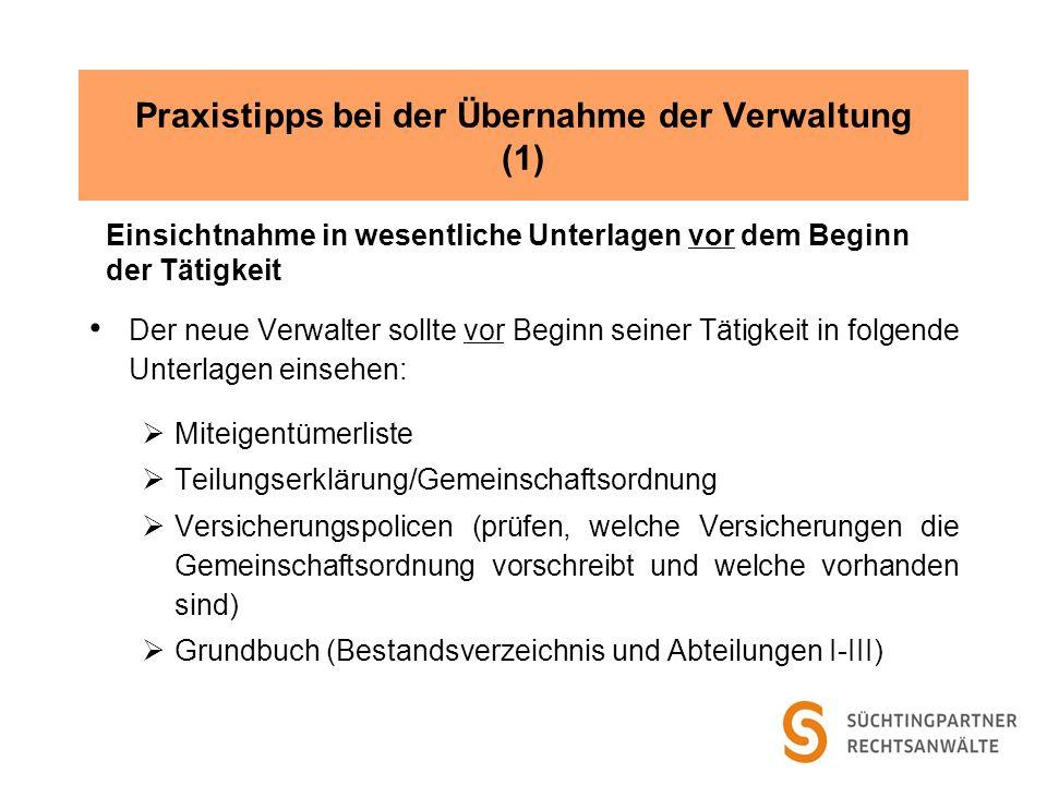 Praxistipps bei der Übernahme der Verwaltung (1)