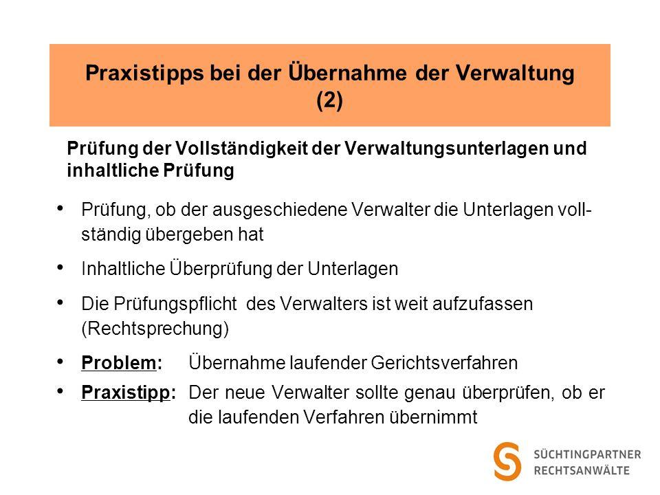 Praxistipps bei der Übernahme der Verwaltung (2)